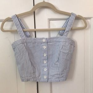 blue and white striped tube top